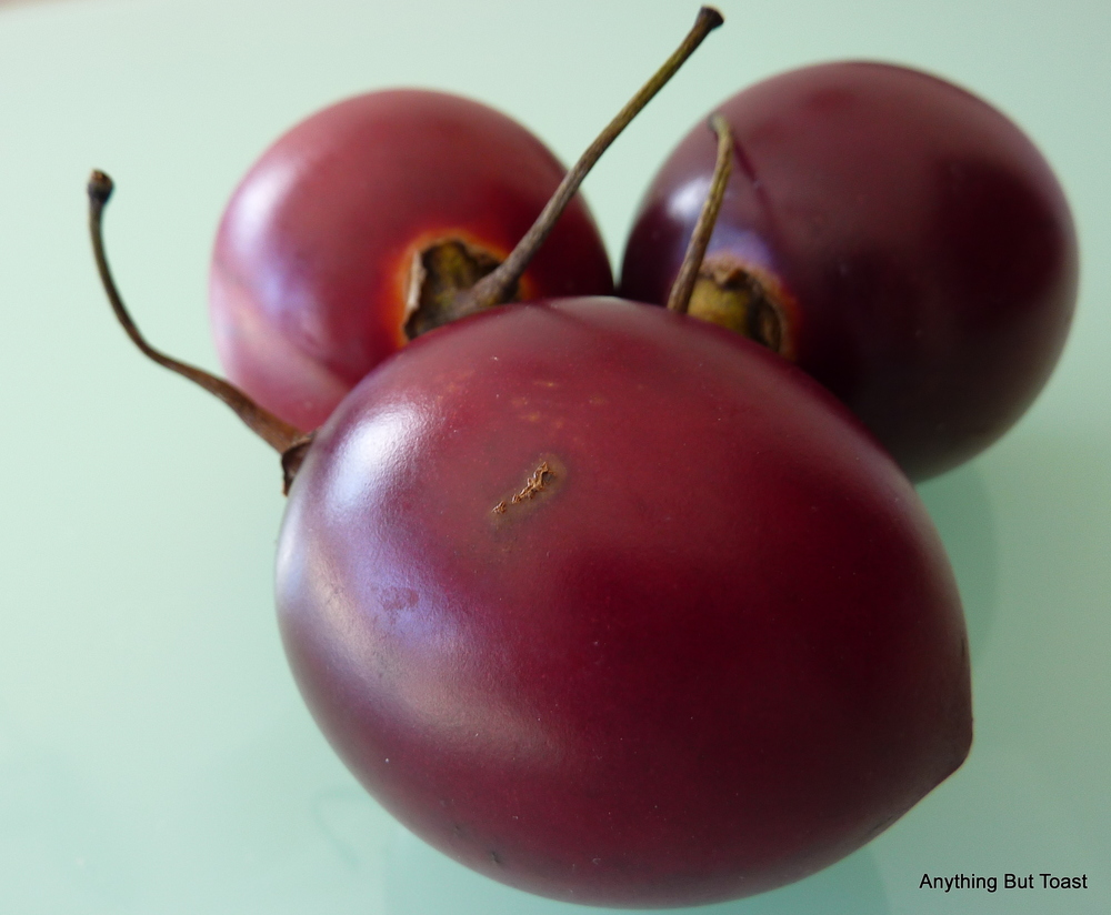 Tamarillo anyone?  I did find these a bit tart but they are so gorgeous.