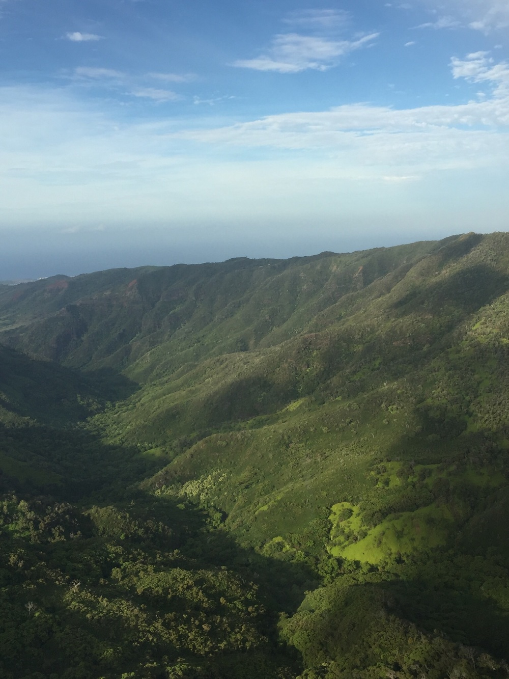 Beautiful Kauai from the air, the majority of this island inaccessible and wild
