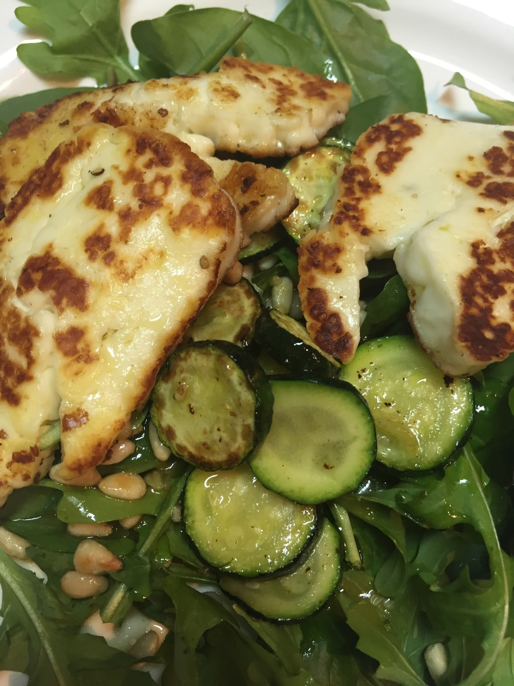 Haloumi aka squeaky cheese, the star of my salad.