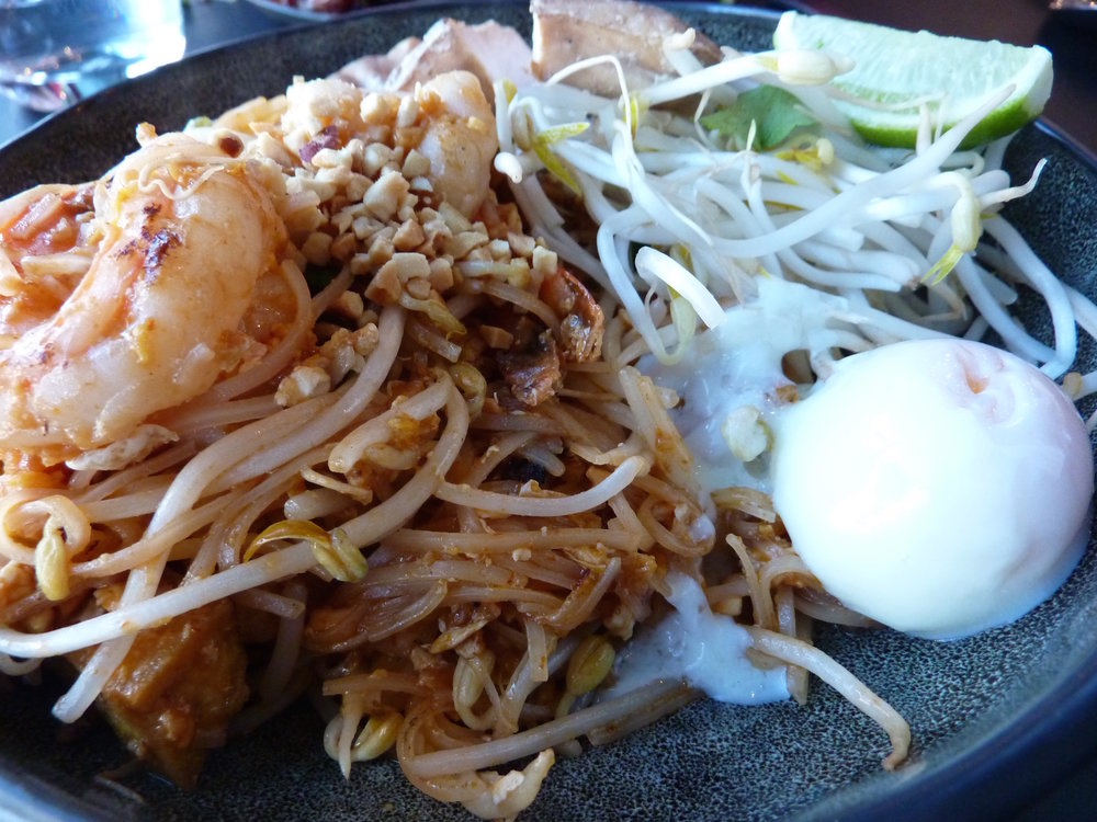 Prawns, noodles and a soft egg was delicious