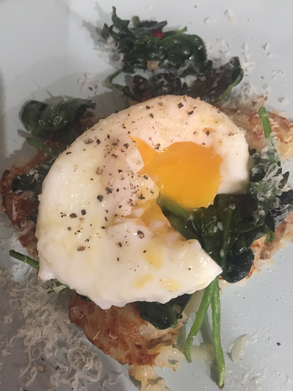 Potato Rosti w wilted spinach & poached egg
