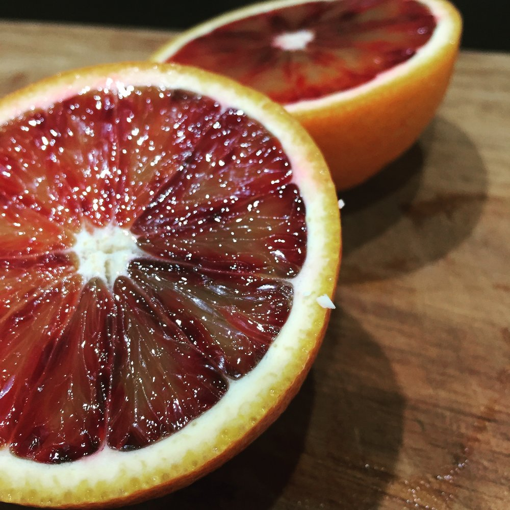 Blood orange season - always makes me think of the Vodka & Orange I ordered in St Moritz which was made with blood orange.  I love how food triggers memories.