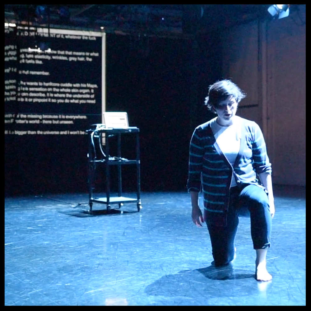 "Meg Foley in her work ""  Elbows in/the undergird,"" at Flowchart. Screencap from footage by Francesca Chudnoff."