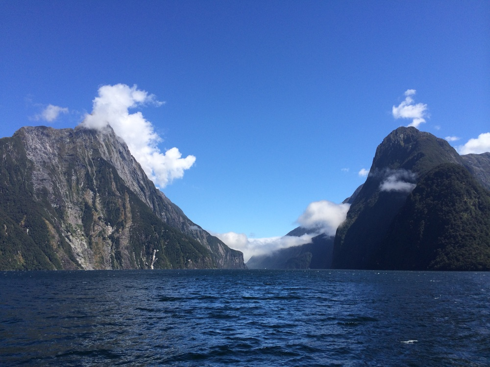 the incredible milford sound on a rare sunny morning.