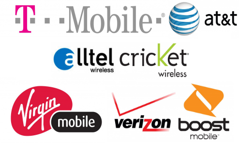 Cell Phone Carrier Logos White Background