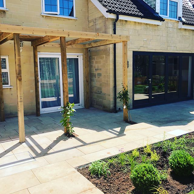 Great progress on one of our current projects. Turf down today and nearing completion #landscaper #bath #turf #hot #summer