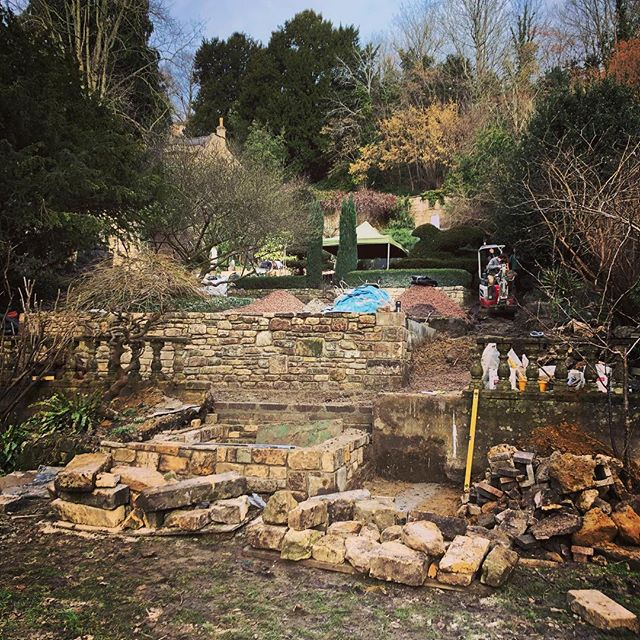 Great progress on our current job this last week. Next up - lots of steps... #cityofbath #landscaper #naturalswimmingpool #takeuchi