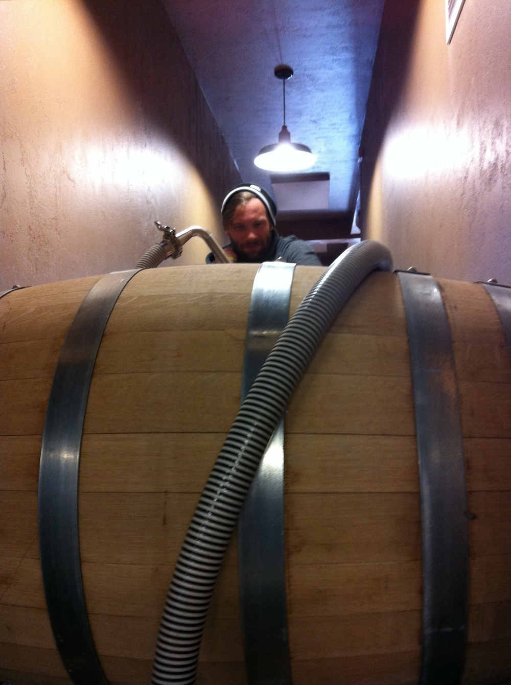 Filling wine barrels