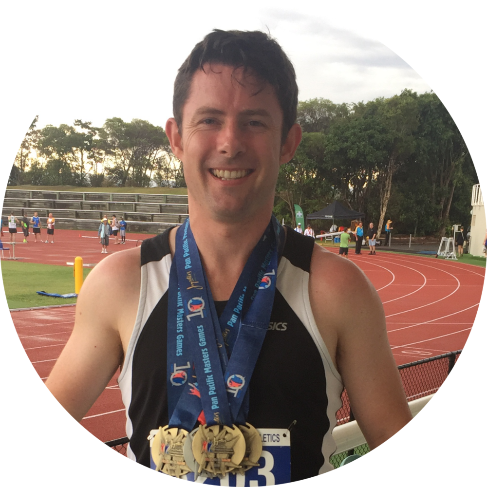 Justin competed in the Pan Pacific Masters Games and won Gold in the 60m, 100m, 200m and Silver in the 400m Athletic Sprints.