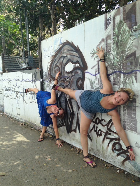 Rachel and I in Ardha Chandrasana in Jaco