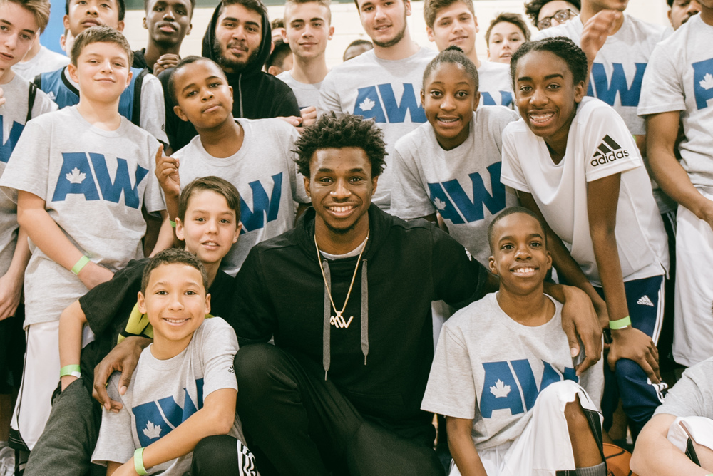 Minnesota Timber Wolves Anthony Wiggins at the Dufferin Clarke Community Centre