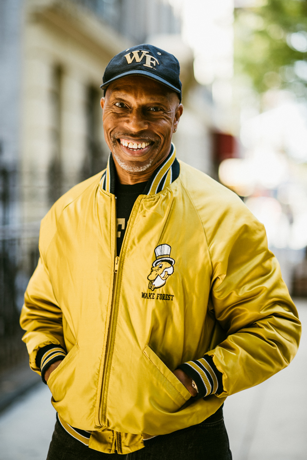 Jeff Dobbs ('77), one of the most popular Demon Deacons of all time,  sporting his vintage WFU letterman jacket in NYC