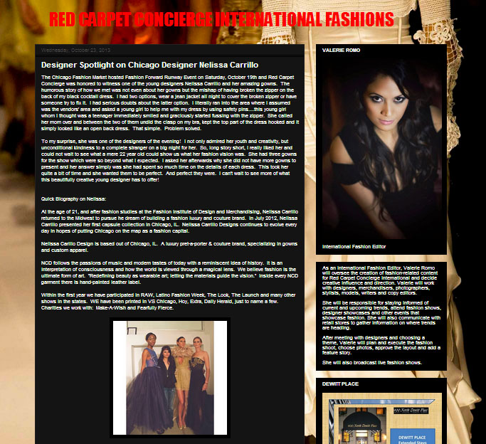 Red Carpet Concierge International Fashions. October 2013.