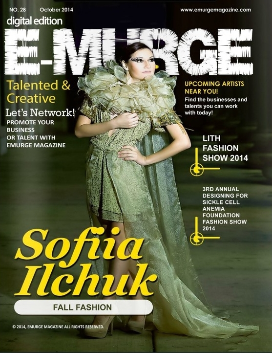 Emurge Magazine, October 2014. Golden Sand gown on cover.