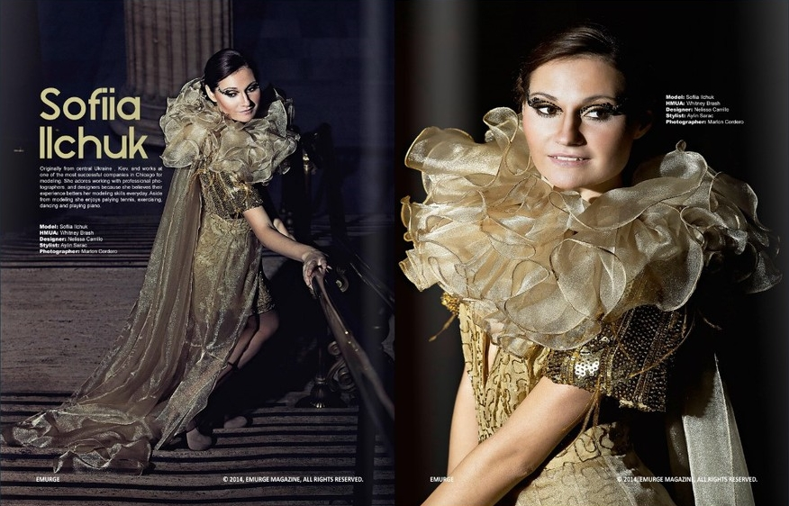 Emurge Magazine, October 2014. Golden Sand gown inside.