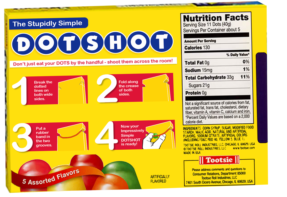 The DotShot - It's all fun and games until someone turns the box into a peace keeping gumdrop crossbow (then it becomes high stakes fun and games). The Dotshot simply requires a rubber band and attention to the instructions to fold in both side perforated sides to turn the box into a fun, fast-shooting, weapon of tastiness.