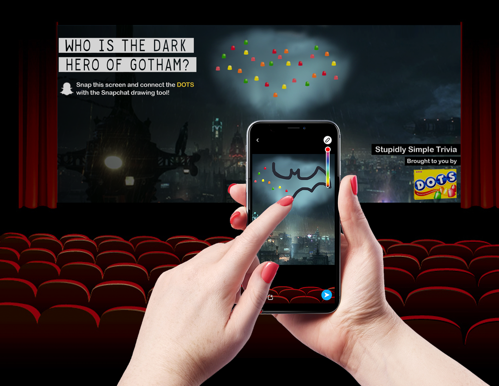Snapchat AR Filter - People love movies. People even love previews for movies. But one thing people do not love is the stupid ads before the previews that must be endured in order to get a good seat. To help pass the time, Dots will launch an in-theater ad for people to interact with on Snapchat. The ads will feature movie trivia and a connect the Dots game to drop a hint on the right answer. Further integrations would allow people to share their answers online and earn prizes or more Dots at the theater lobby.
