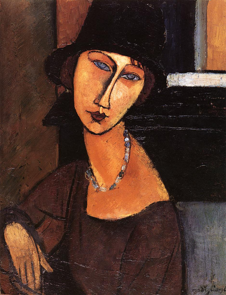 Jeanne Hebuterne with Hat and Necklace, Modigliani, 1917