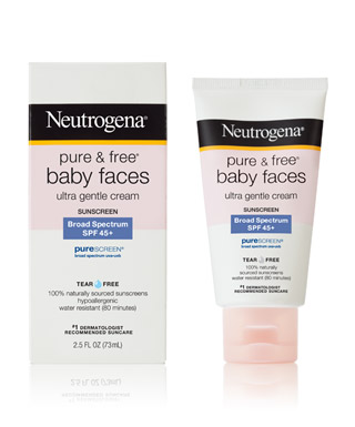 Neutrogena Pure & Free Baby Faces sunscreen, SPF 45, every single morning, rain or shine. This contains zinc and titanium and protects against UVA and UVB rays. $12, drugstores