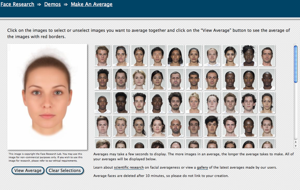 Read more about FaceResearch.org and try their interactive face averaging tool.
