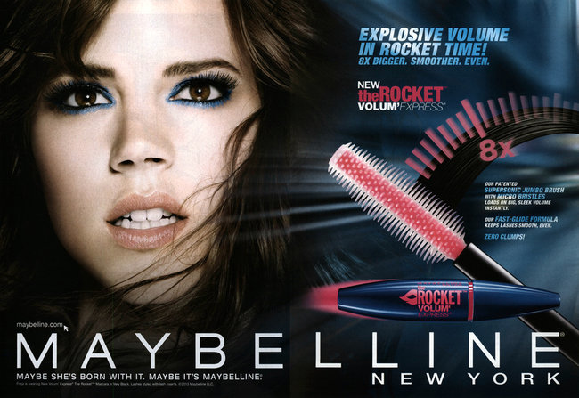 This mascara ad by Maybelline for Volum' Express the Rocket, featuring Freja Beha Erichsen, demonstrates misleading alteration of the model's eyelashes. Image credit New York TImes.