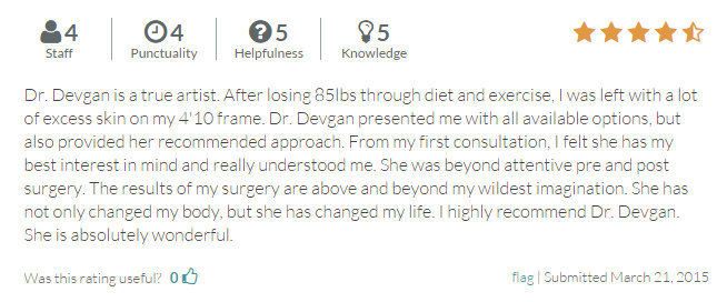 RateMDs.com review from an abdominoplasty and arm liposuction patient