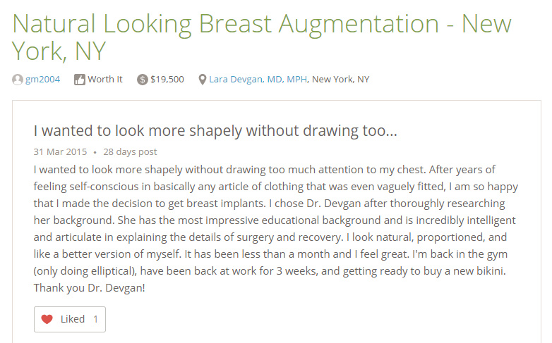 Breast augmentation review from RealSelf.com