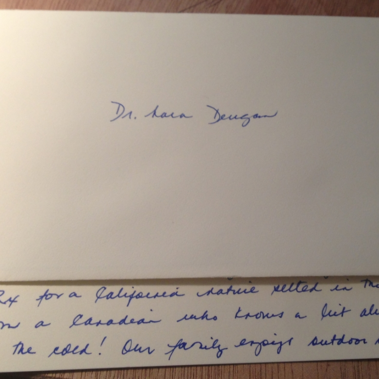 Thank you card from an international facial laceration patient, 4/2014