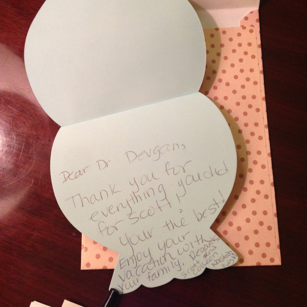 Thank you note from the parents of an emergency hand surgery patient