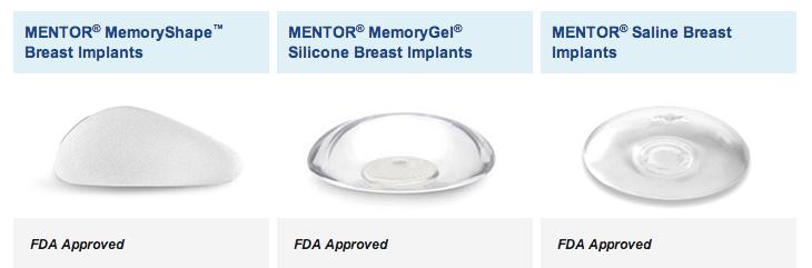 Silicone versus saline breast implants. Image credit Mentor.