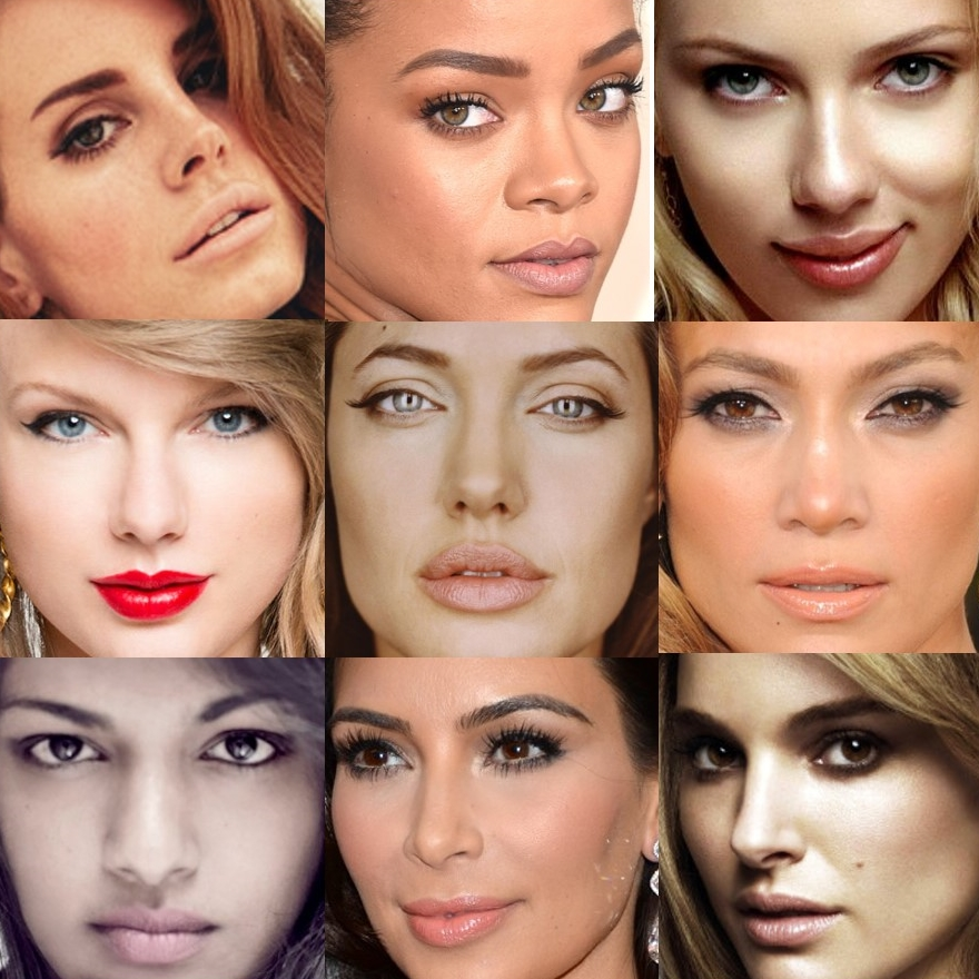 The best celebrity lips: (top to bottom, right to left) Lana Del Rey, Rihanna, Scarlett Johansson, Taylor Swift, Angelina Jolie, Jennifer Lopez, M.I.A., Kim Kardashian, and Natalie Portman