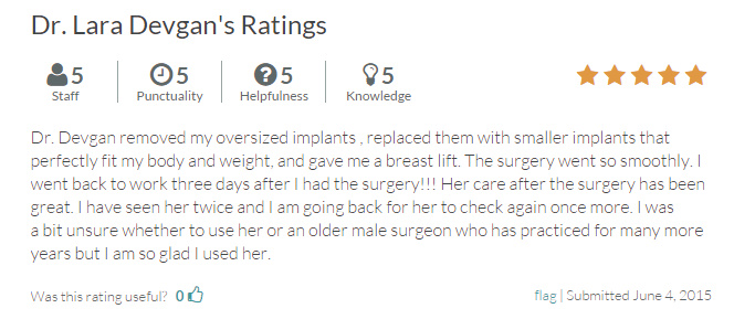 Verified patient review from RateMDs.com.