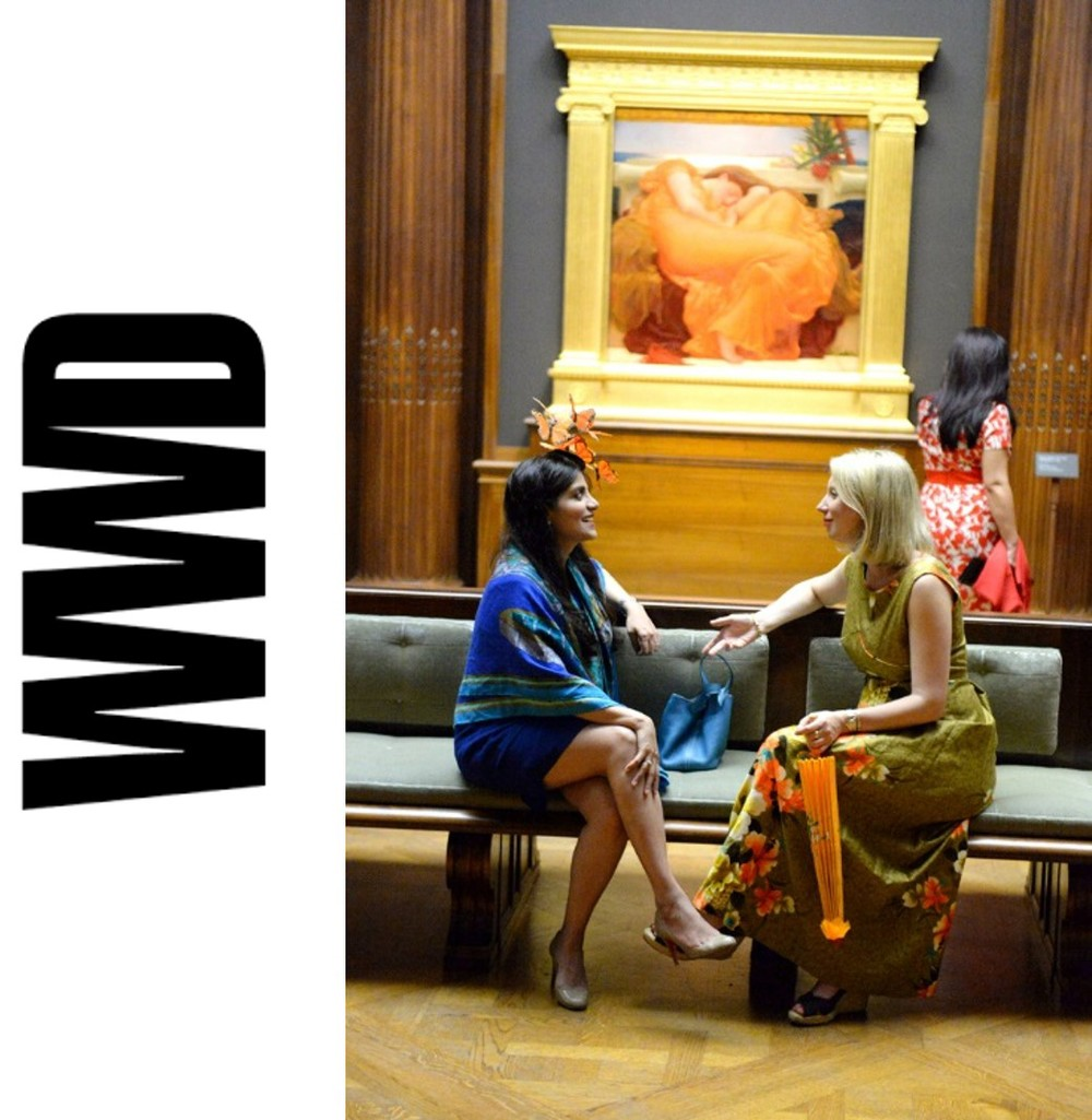 Dr. Lara Devgan, with a friend, in front of Flaming June at the Frick Collection's 2015 Spring Garden Party. Image credit Steve Eichner for Women's Wear Daily.