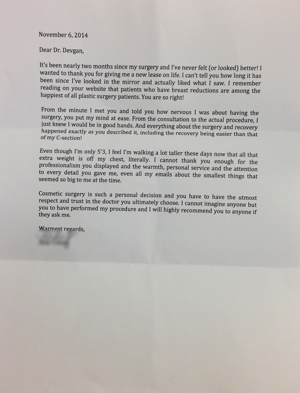 Letter from a liposuction and breast lift/ reduction patient.