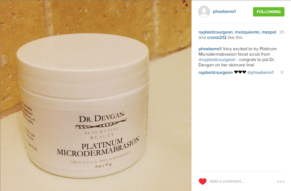 Patient review of Dr. Devgan Scientific Beauty skin care, via Instagram