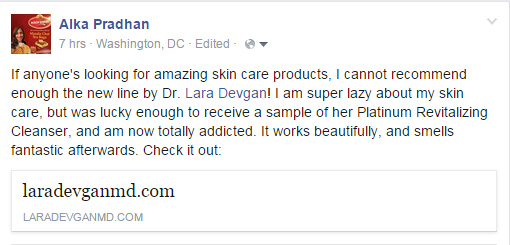 Patient review of Dr. Devgan Scientific Beauty, via Facebook