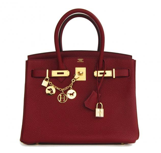 Hermes Birkin bag, rouge, 30cm, with clemence gold hardware. $24,500