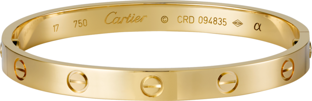 Cartier Love bracelet, yellow gold. $6,300
