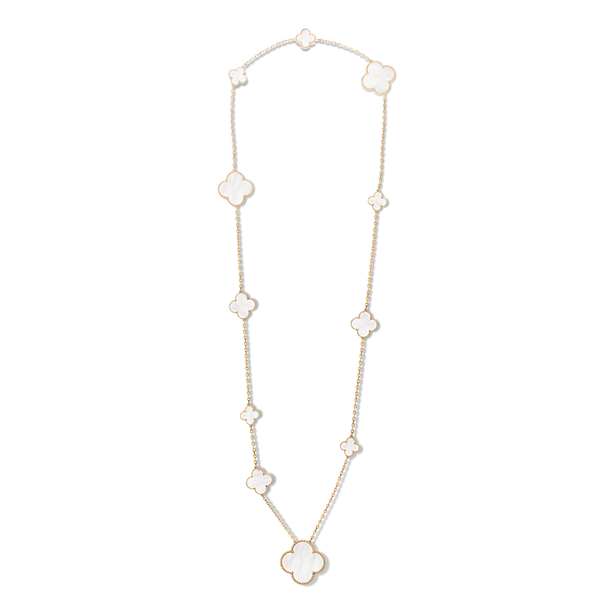 Van Cleef Alhambra long necklace, 11 motifs, mother of pearl. $18,100