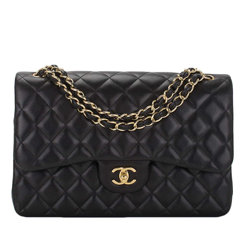 Chanel black quilted lambskin jumbo classic Double Flap bag, gold hardware, $7,000
