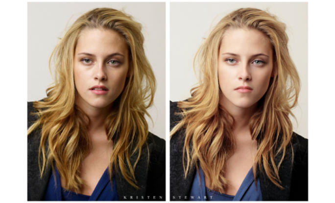 Kristin Stewart before and after photoshop