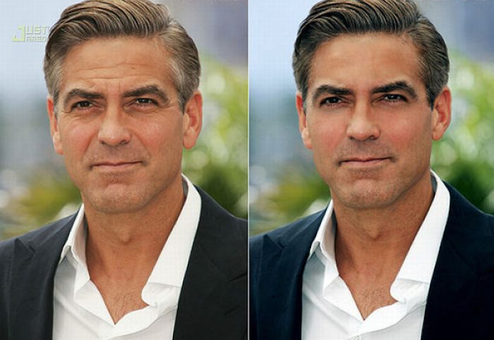 George Clooney before and after photoshop