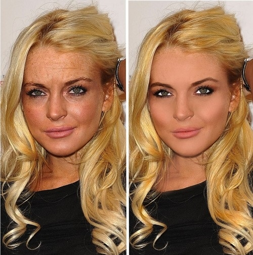 Lindsay Lohan before and after photoshop