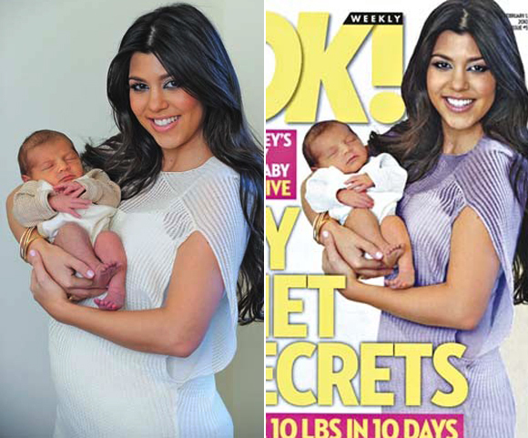Kourtney Kardashian before and after photoshop