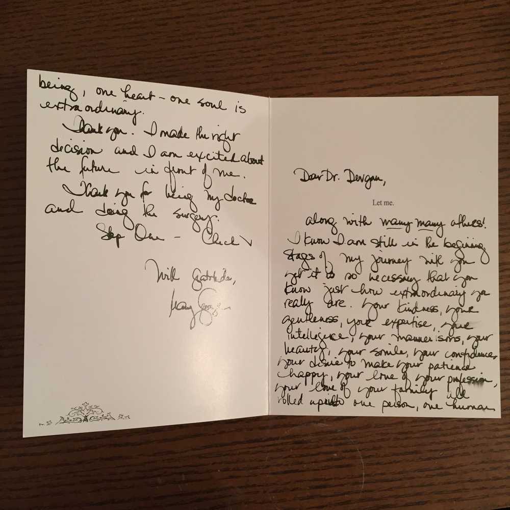 Thank you card from a body contouring patient