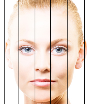 According to plastic surgery principles, the base of the nose should be no wider than the distance between the eyes (the intercanthal distance).