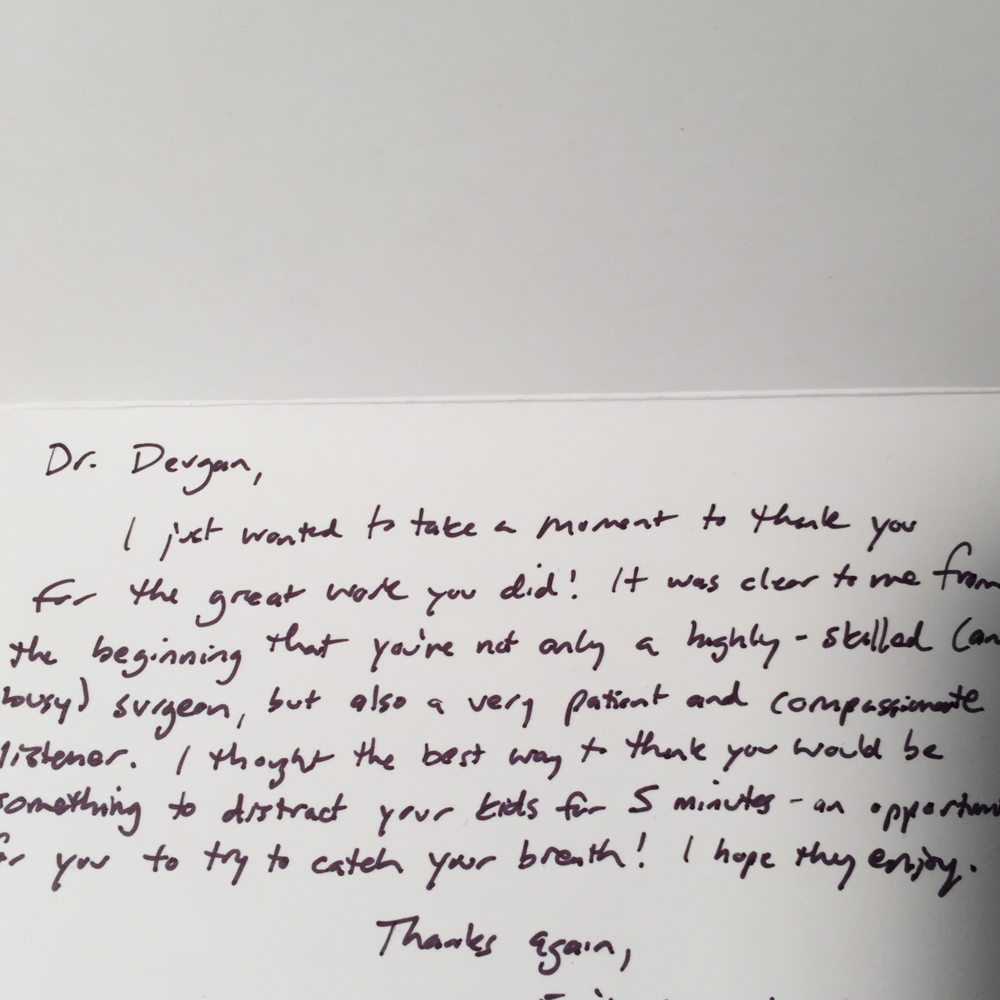 Thank you card from a breast augmentation patient