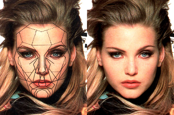 A beautiful face fits the Marquardt Mask, a map of facial golden ratios. Image credit beautyanalysis.com.