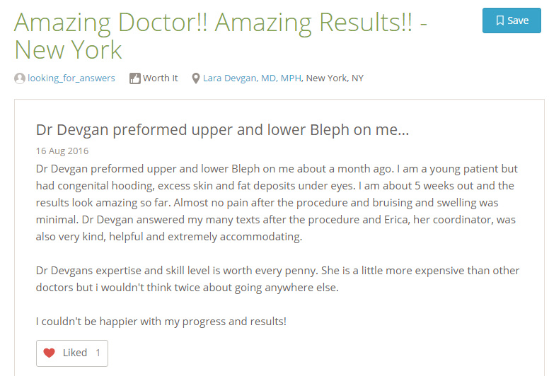 Verified patient review from a cosmetic eyelid surgery patient, via RealSelf.com