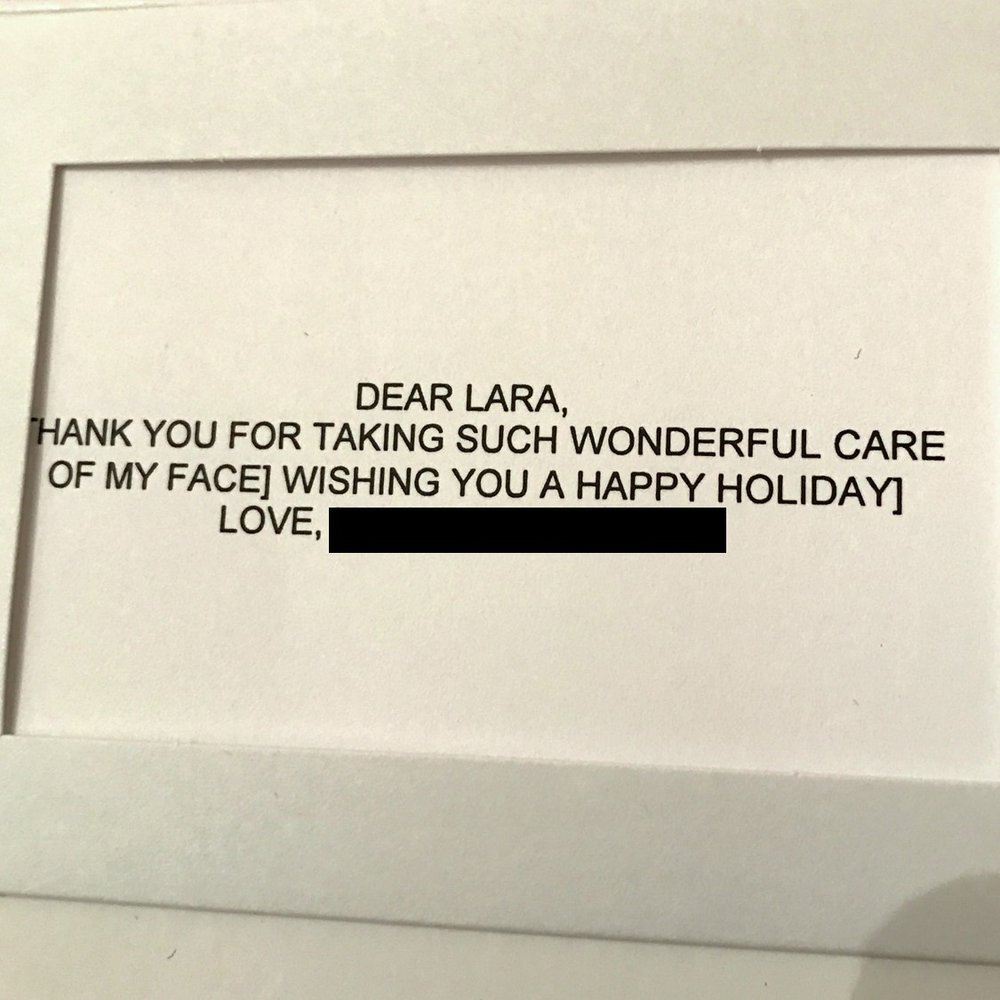 Card from a botox and filler patient, 12/2016